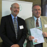 Terry Enright, Chair of the WA Committee, with Crawford Fund Medal awardee Bob Gilkes