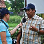 Dr Sugama being interviewed by   Australian journalist, Sarina Locke.