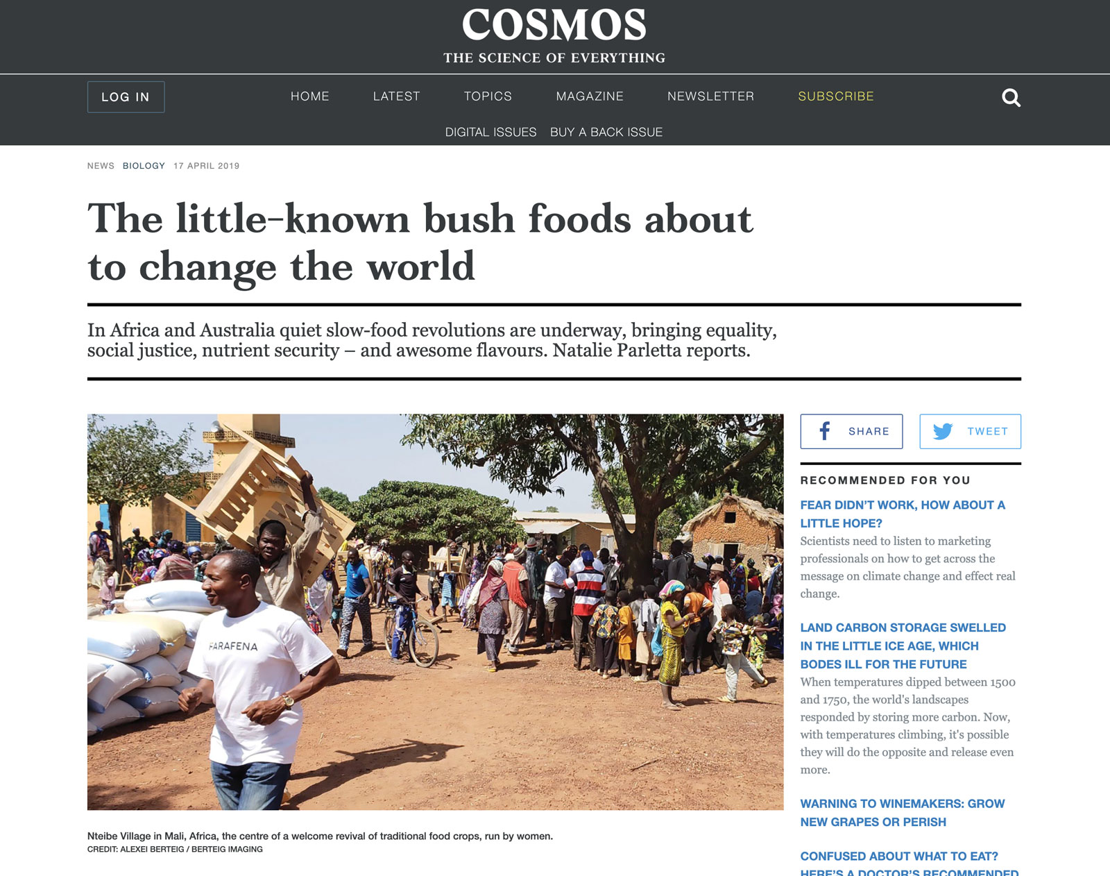 Our Food Security Journalism Award winner for 2019 is…